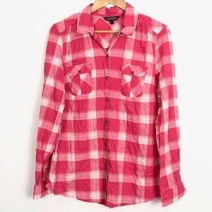 Express Pink & White Plaid Button Front Shirt L